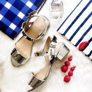 Metallic Silver Low Block Heel Sandals